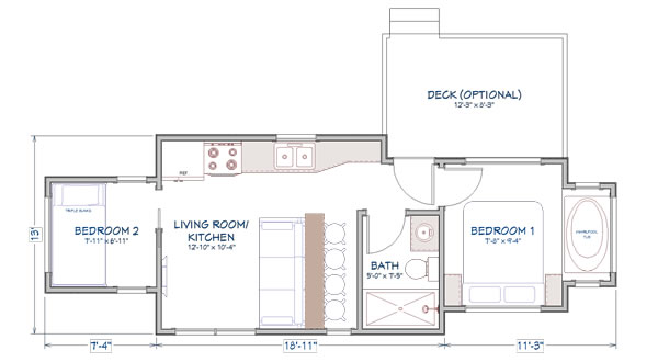 Ft. Sumter tiny home floor plan