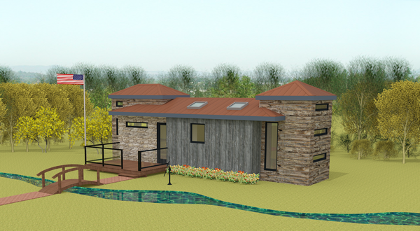 Ft. Sumter tiny home 3D render from front