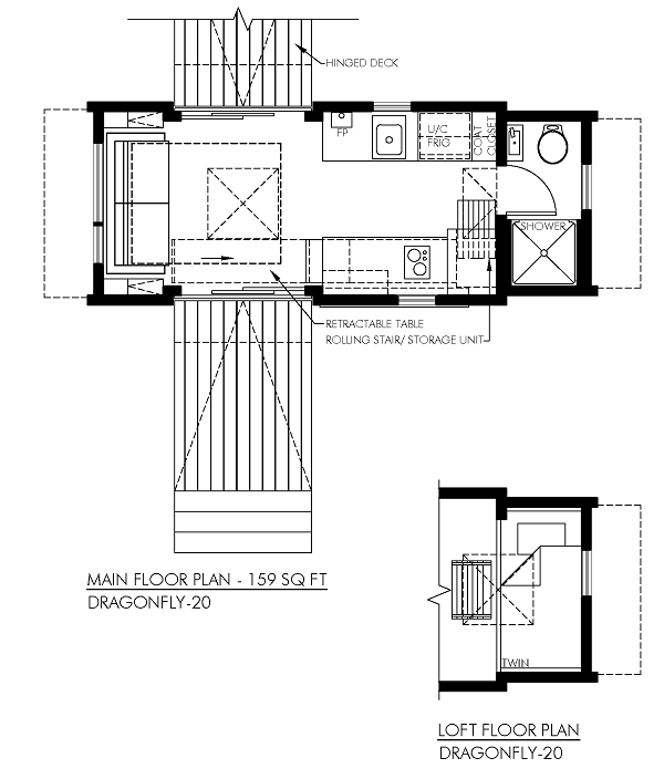 contemporary Dragonfly tiny home floor plan