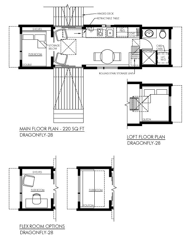 contemporary 28' Dragonfly park model home floor plan