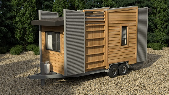 exterior of Dragonfly tiny home model in park